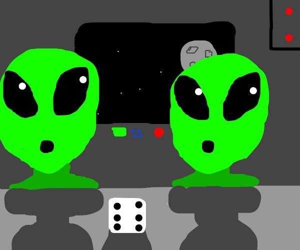 Green aliens wonders at a six sided die