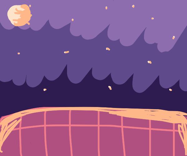 Nighttime over a bridge