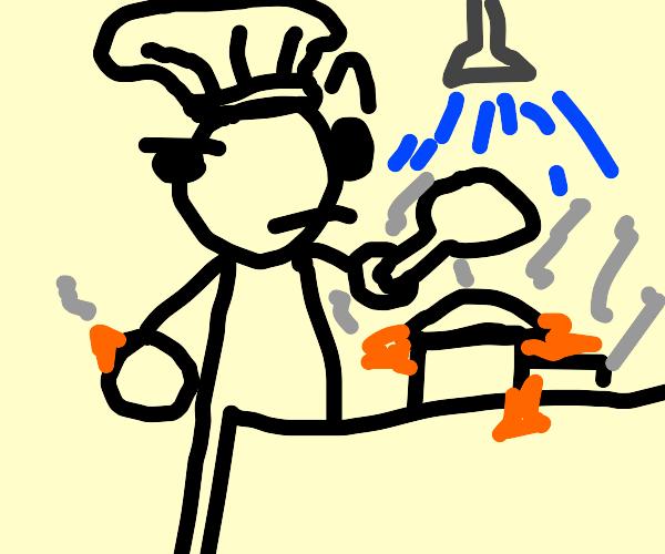 French chef burning