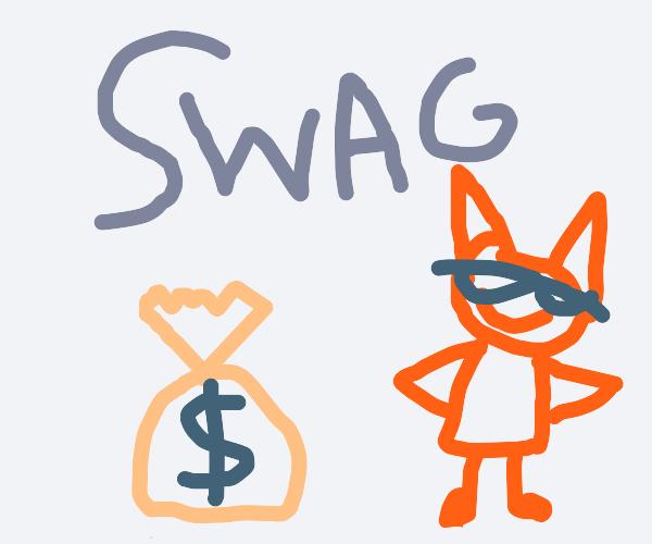 cat with money on floor