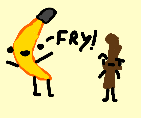 banana mistakes yellow stick as a fry