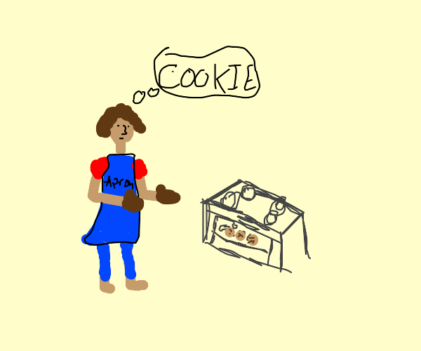 Woman blue apron take cookies out of the oven