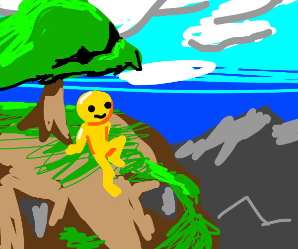 yellow man sitting on a mountain