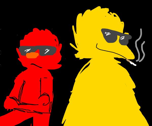 Gansta elmo and big bird