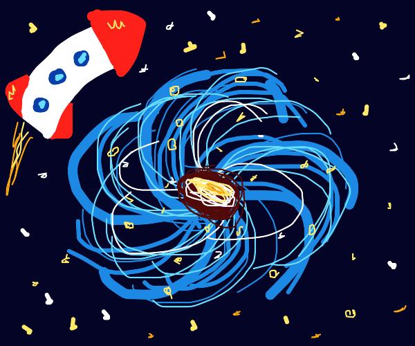 rocket photobombs blue galaxy