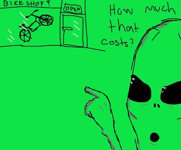 Alien buying a bike