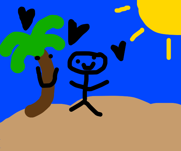 a human in a oasis with his tree buddy