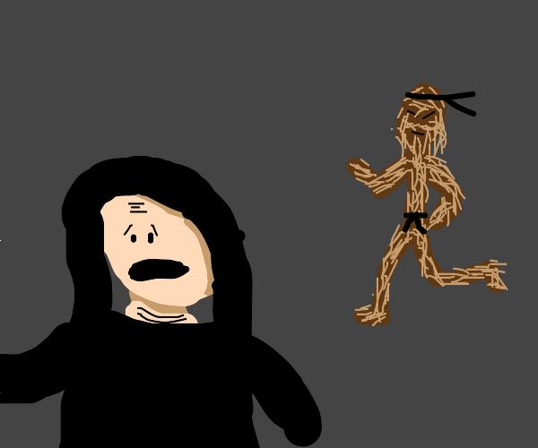 palpatine runs from angry black belt chewbaca