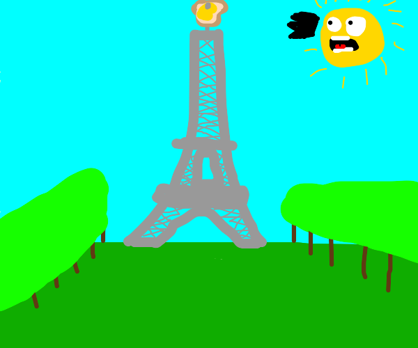 Eiffel tower with buttered toast on it