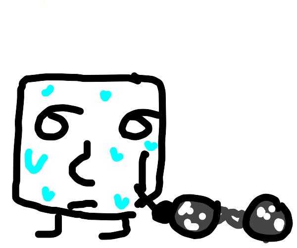 Lenny dragging 2 large metal balls