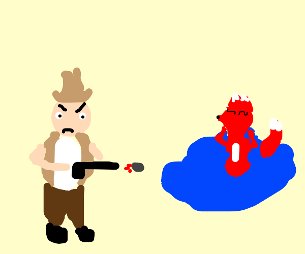 an angry man shoots a bathing furry.