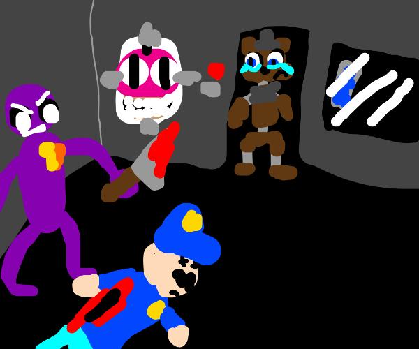 fnaf purple guy killing guard makes fredy sad