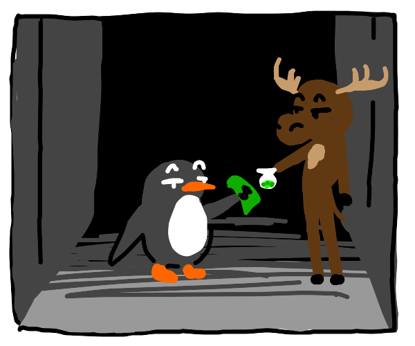 Moose and Penguin drug deal in an alley