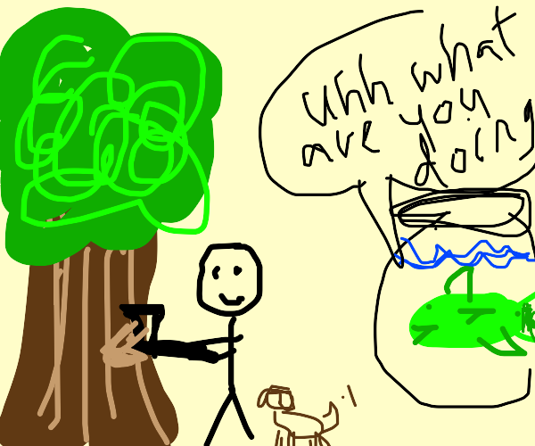 Guy with dog chopping tree while fish watches
