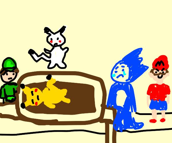 Pikachu's open casket funeral
