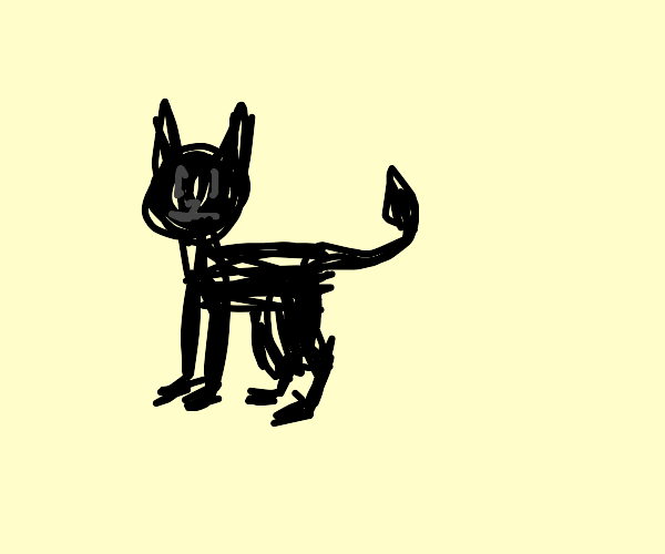 black cat with demon tail