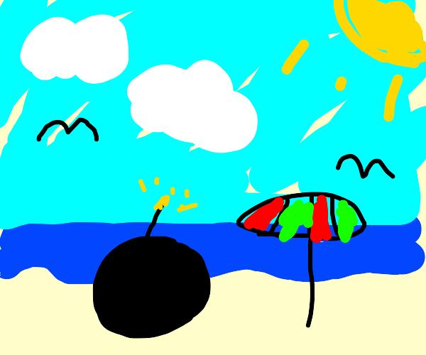 Bomb on beach