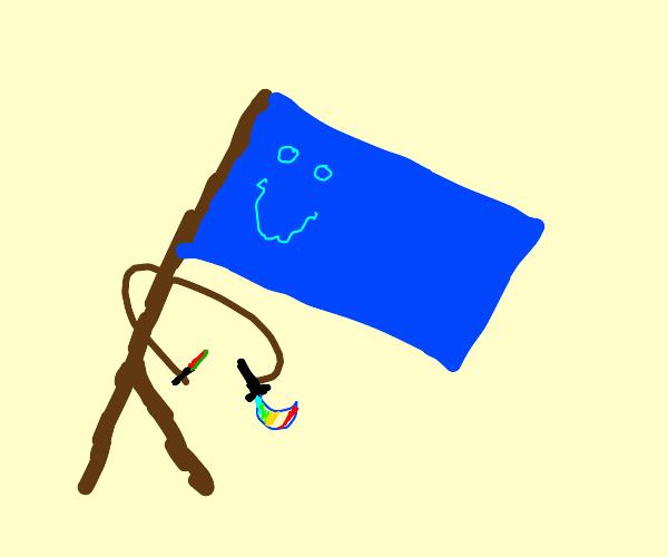 blue flag with dagger
