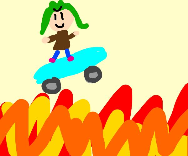 Skate boarding in flames