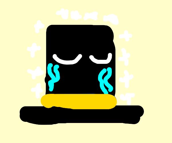 uwu top hat sparkle man meditating in tears