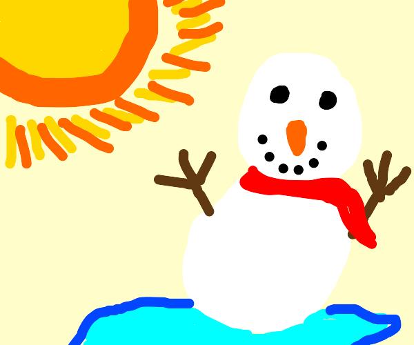Snowman wants to enjoy Summer