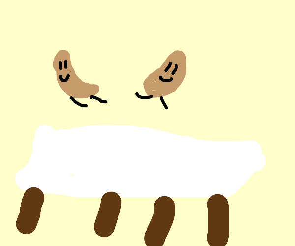 Two peanuts jumping on a bed