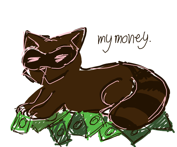 Raccoon sitting on a pile of money.