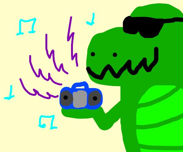 Dinosaur enjoying music