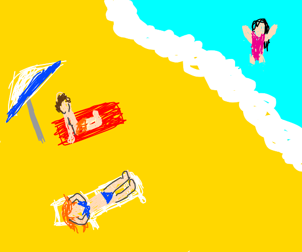 3 people at a beach