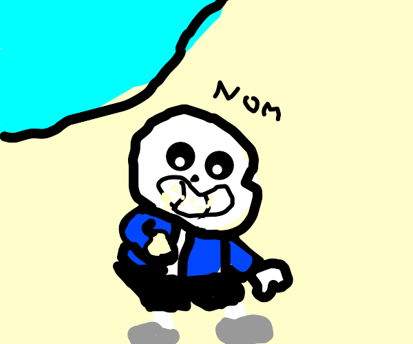 Sans sits at the beach eating sand