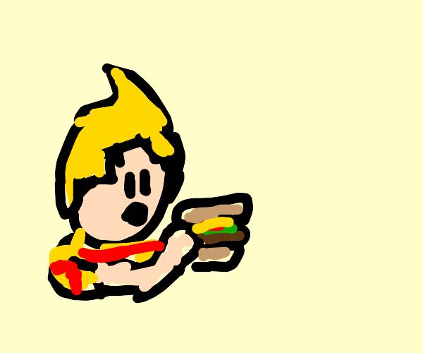 Lucas eating burger