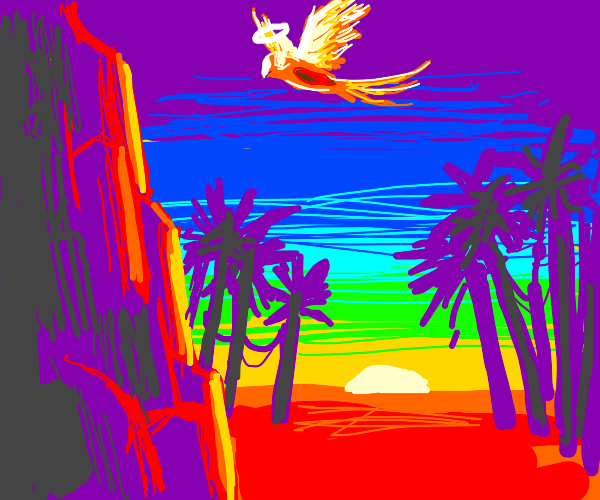Angelic parrot flies up psychedelic landscape