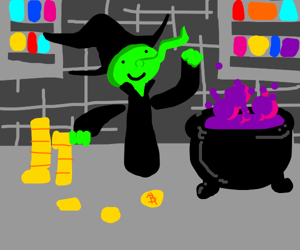 witch uses money in potion