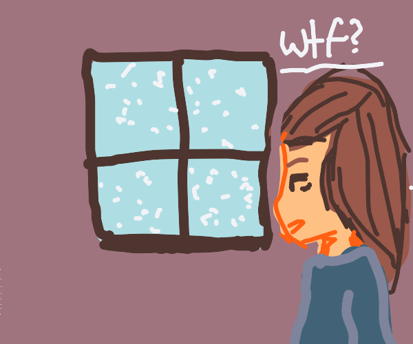 A girl wondering why its snowing