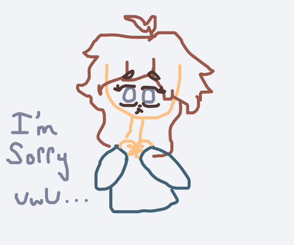 cowering anime girl is sorry