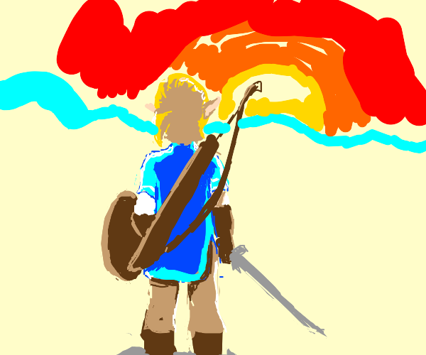 character Link standing on rock facing sunset