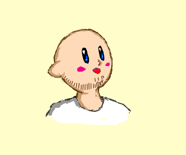 Kirby as a human with a beard.