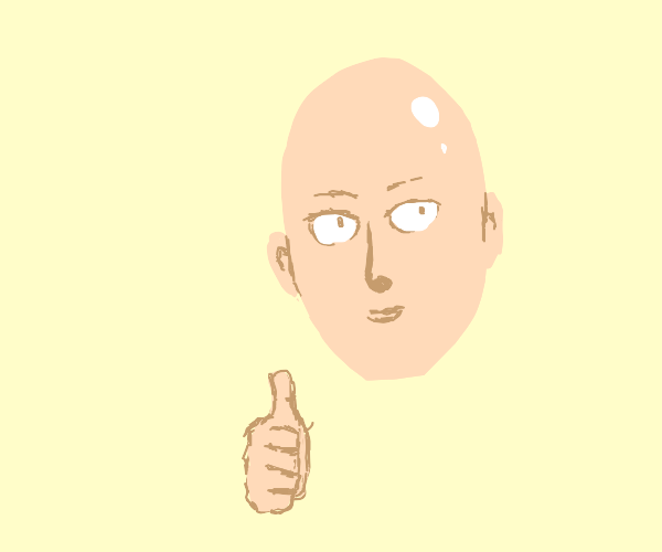 Saitama gives a thumbs up