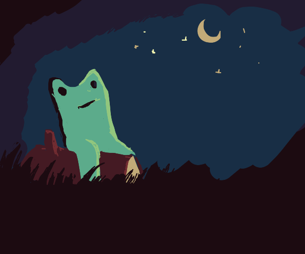 Frog (NOT pepe) on a log Under the night sky