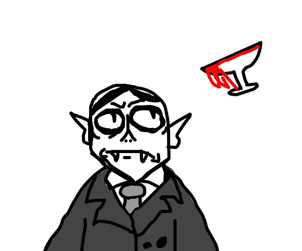 Gomez Vampire Adams looking at cup of blood