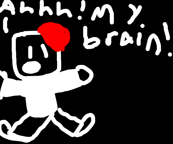 Man with brain sticking out of his head