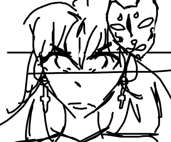 Angry Anime girl with kitsune Mask