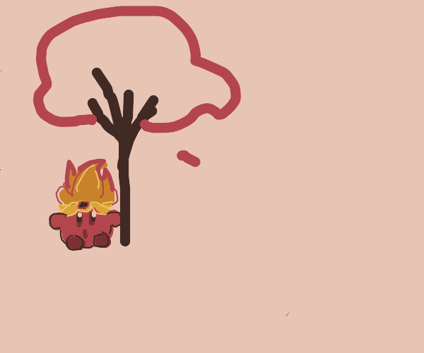 Flaming Kirby by a tree