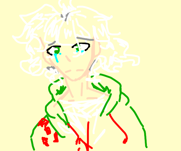 Nagito (Danganronpa) Looking sad