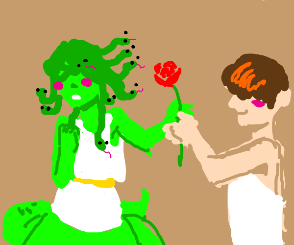 Medusa awkward about being offered a rose