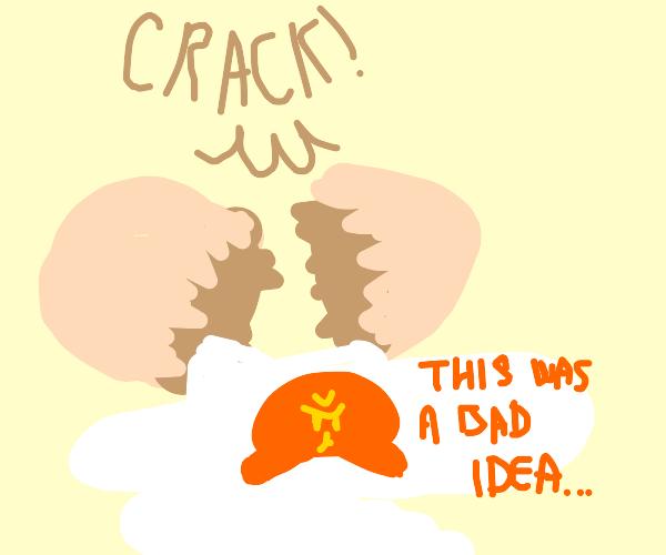 Egg Regretfully Cracks Itself Open