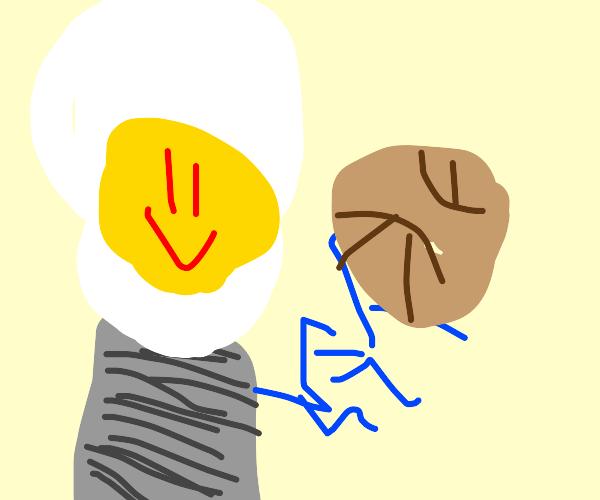 lightbulb happily holding a pokeball