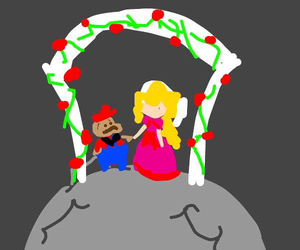 Mario & princess peach get married on da moon