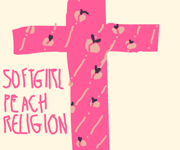 Pink Cross with peach diagonal stripes on