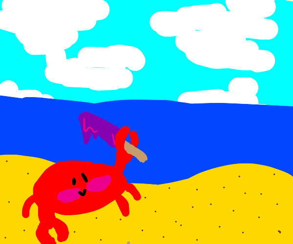 crab holds a posticle on the beach